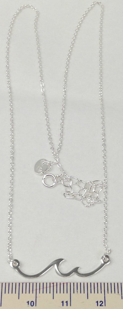 "Sterling Silver Wave Necklace  16"" +2"" chain"