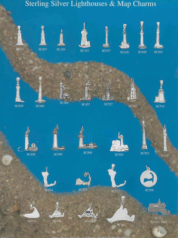 Sterling Silver Lighthouse and Map Charms