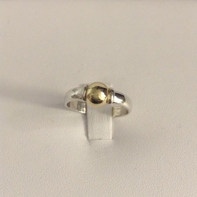 Sterling Silver Band with Vermeill Gold Ball (Ring)