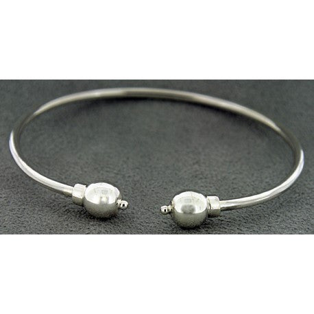 Sterling Silver Cape Cod Double Ball Cuff Bracelet