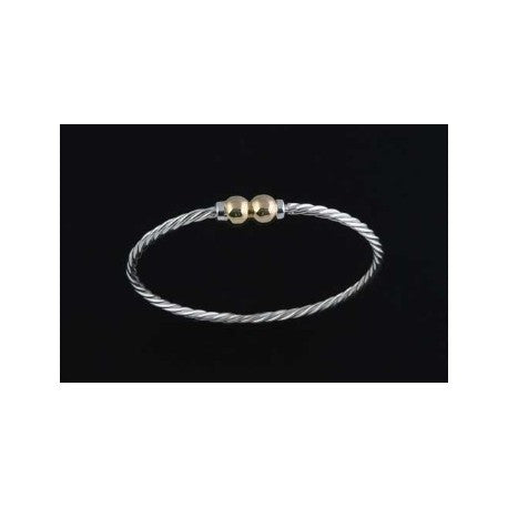 Cape Cod Twist Bracelet - Sterling Silver and 14K Gold Double Ball