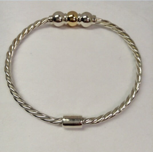 The Bracelet Triple Ball Twist - 14K Yellow Gold and Sterling Silver Balls