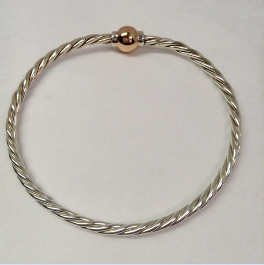 The Twist Bracelet with 14k Rose Gold Ball