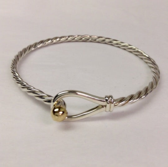 The Twisted Loop and 14k Yellow Gold and Sterling Silver