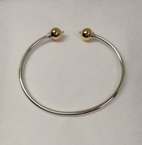 Cape Cod Bracelet Double Ball Cuff - Sterling Silver and 14K Yellow Gold