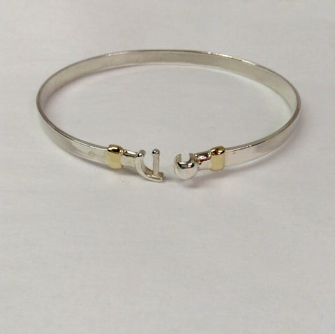 "Hook Bracelet 7"" only 14K and Sterling Silver"