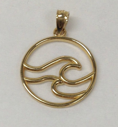 14K Gold Double Wave in Circle Charm