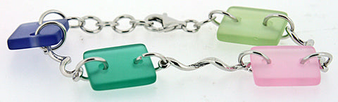 Sterling Silver Sea Glass Bracelet (Green, Blue, Pink)