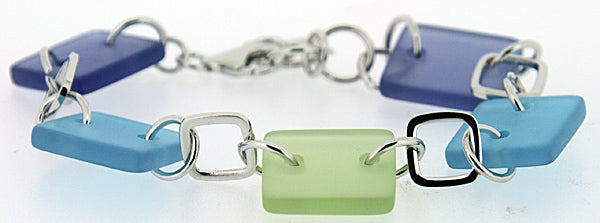 Sterling Silver Sea Glass Bracelet (Green and Blue)