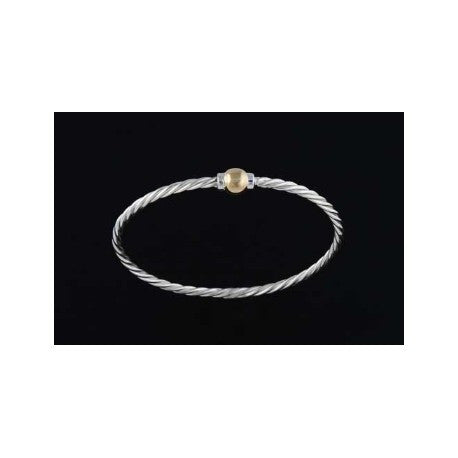 Cape Cod Twist Bracelet - Sterling Silver and 14K Gold Single Ball
