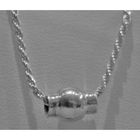 Sterling Silver Necklace - Single Bead Twist