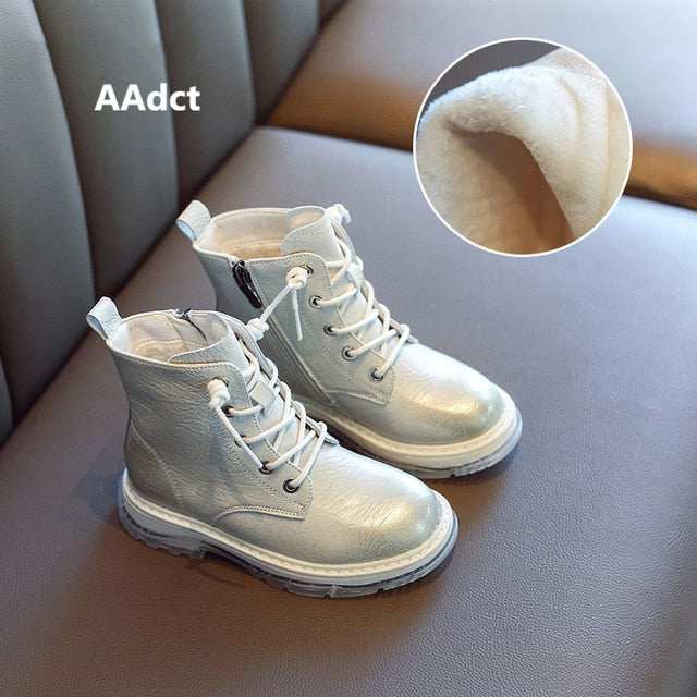 AAdct 2019 girls boots fashion kids boots for baby girls autumn winter cotton warm Brand little children martin shoes