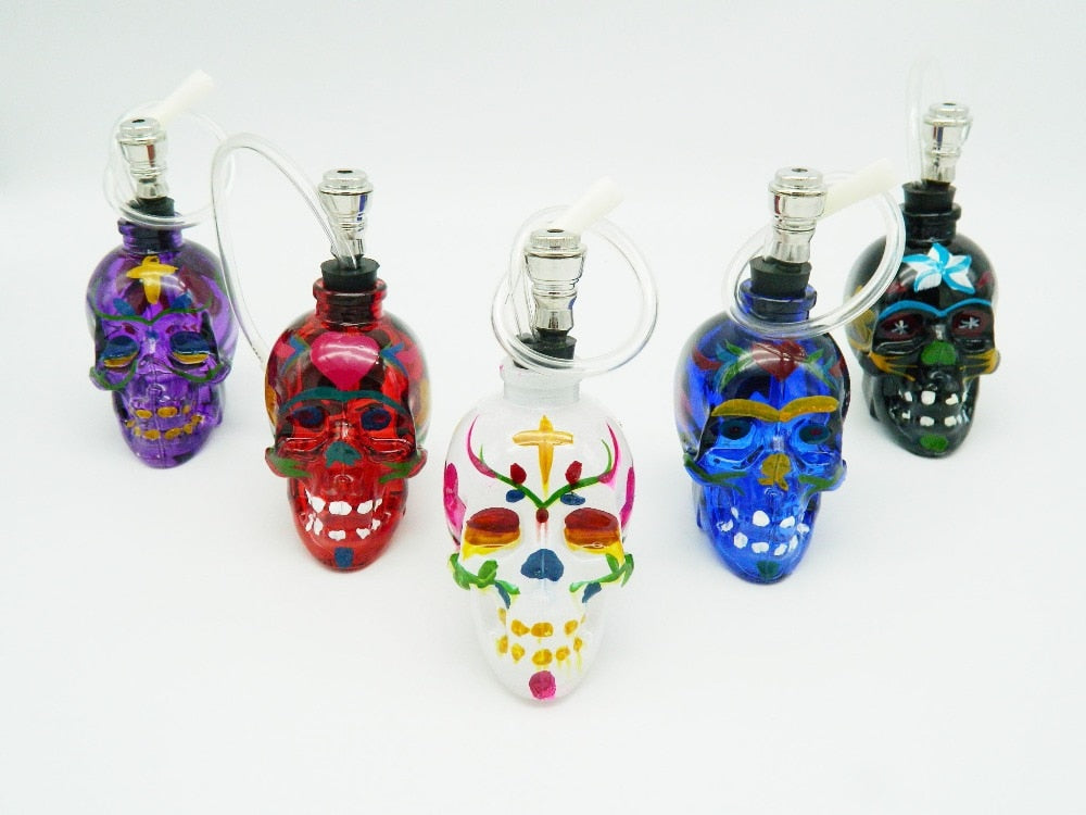 Tobacco Pipes & Accessories multi colors transparent skull shape single color glass bottle Glass smoking pipe