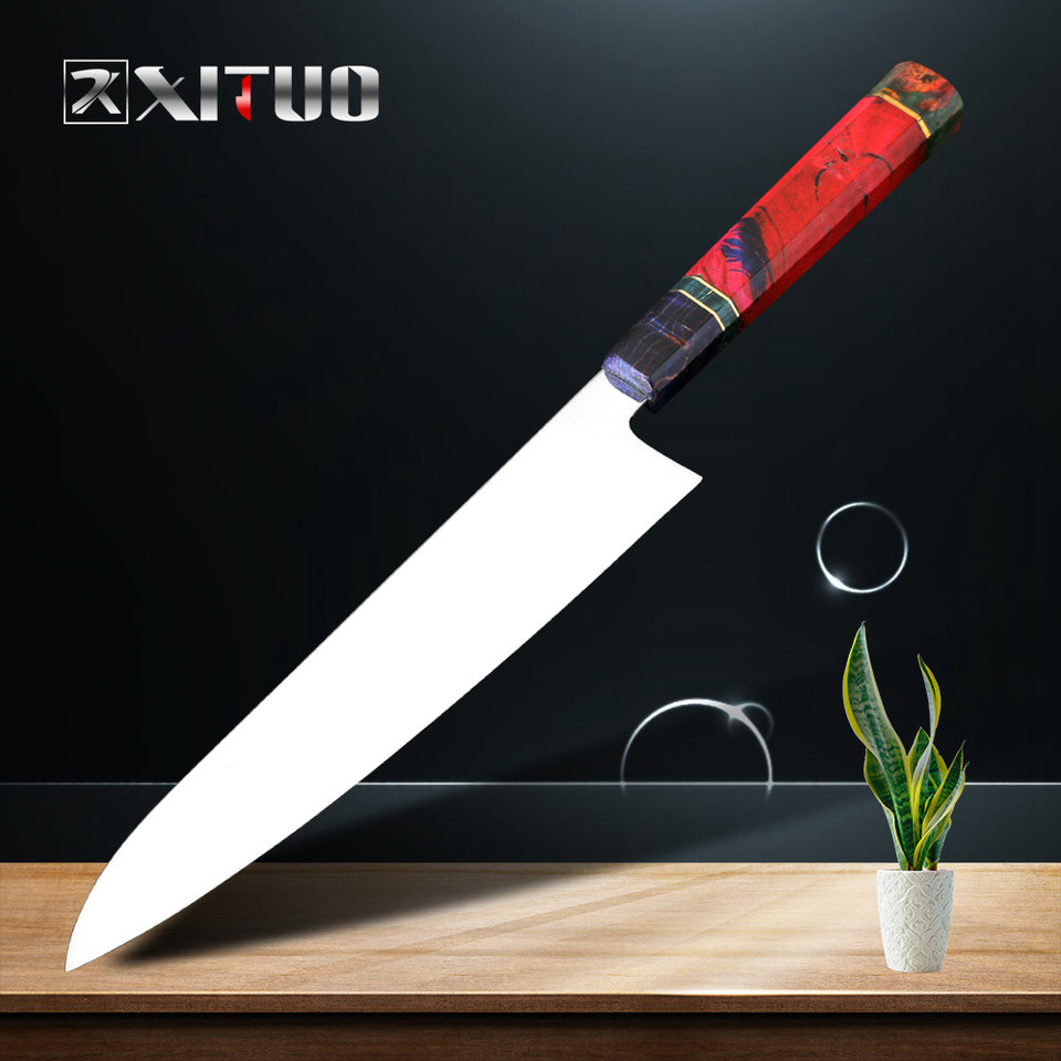 XITUO Slicing Filleting Knife VG10 High Carbon Stainless Steel Blade Japanese Kitchen Chef Nakiri Cleaver Knife Solidified Wood