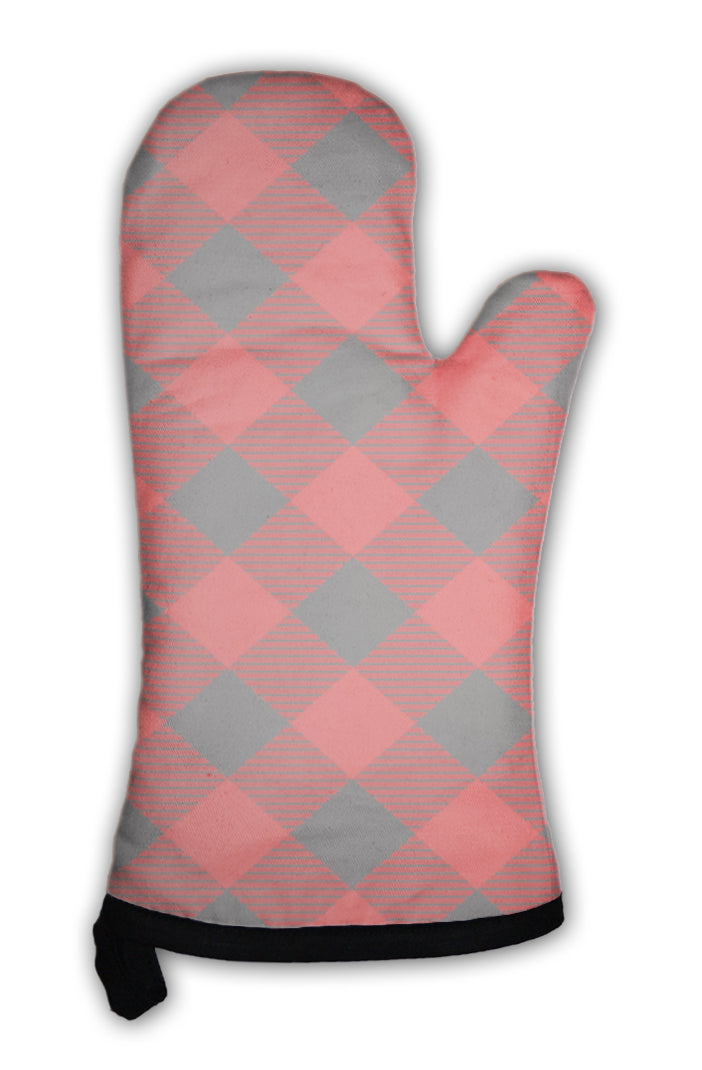 Oven Mitt, Lumberjack Plaid Pattern Tilted