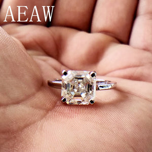 2 Carat Asscher Cut Moissanite Lab Diamond Ring Set HI Color Excellent Matching Band Ring For Women Solid 10K White Gold