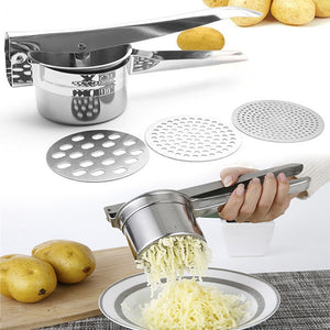 Potato Mashers Ricers Kitchen Cooking Tools Stainless Steel Pressure Mud Puree Vegetable Fruit Press Maker Garlic Presser