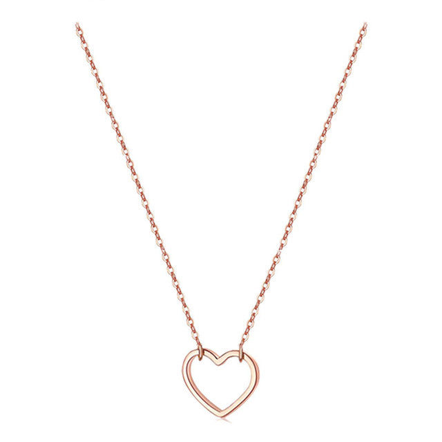 New Fashion Double Layer Stainless Steel Hearts Pendants Necklaces For Women Multilayer Layered Necklaces Jewelry