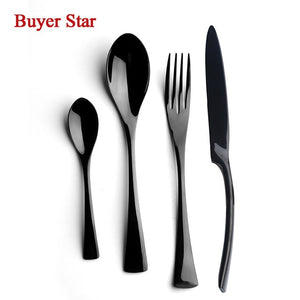 4 PCS Flatware Box Cutlery Stainless Steel Dinnerware Set Rainbow Colorful Silverware Tableware Hotel Party Kitchen Gift Talher