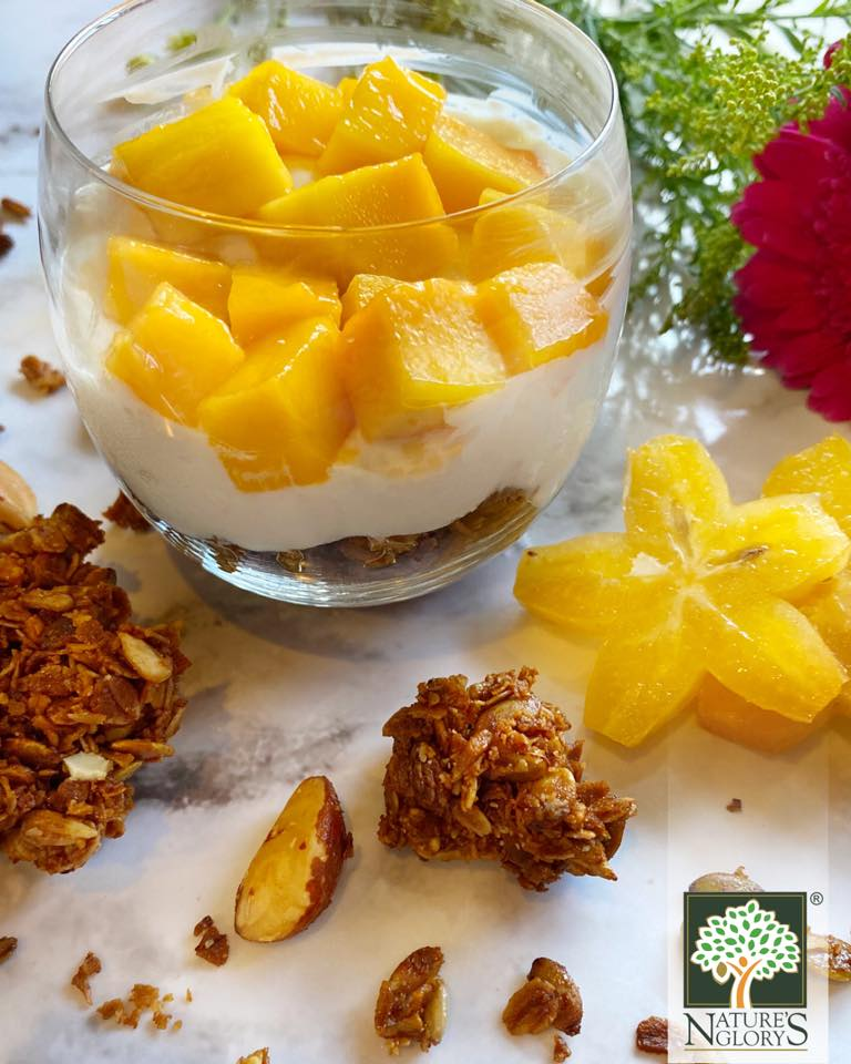 Homebaked Organic Granola served with Greek Yogurt and Mangoes.