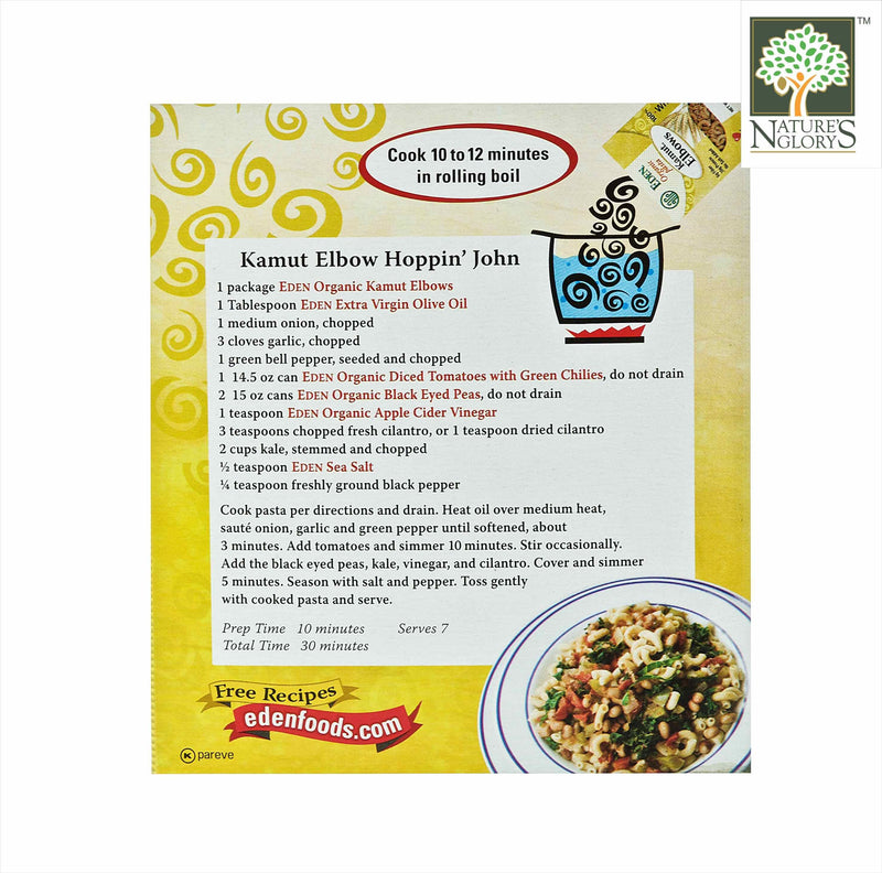 100% Wholegrain Kamut Elbows Pasta Eden Organic 396g - View 2