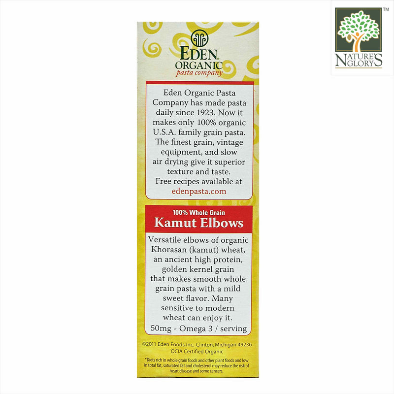 100% Wholegrain Kamut Elbows Pasta Eden Organic 396g - View 3