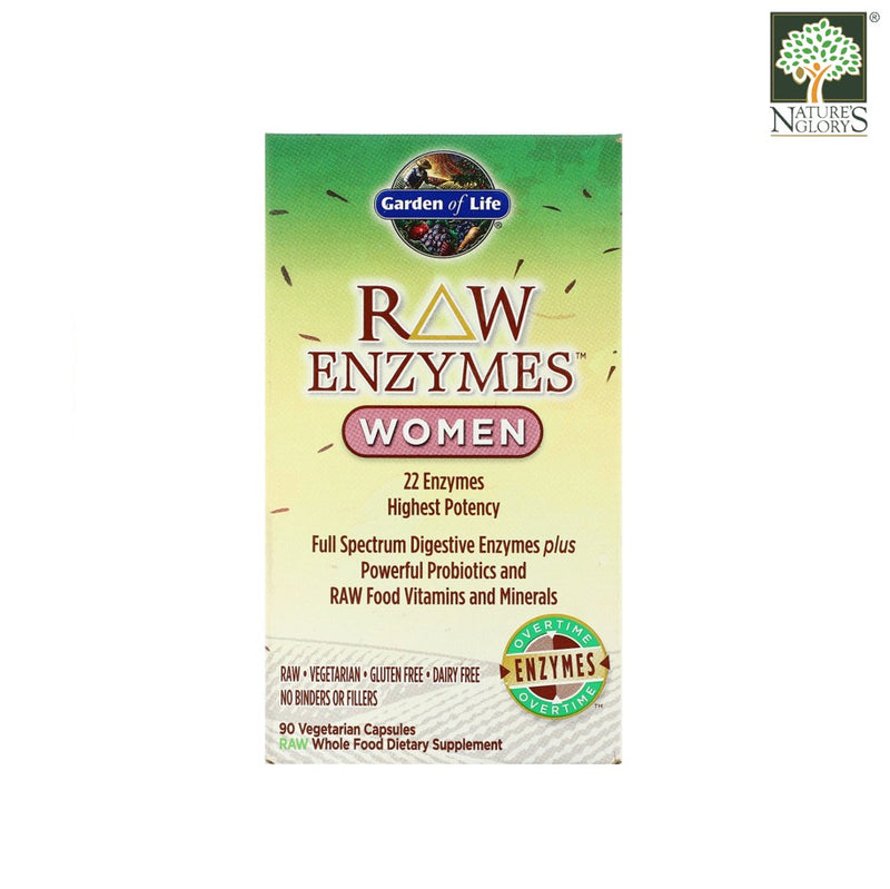 Garden of Life Raw Enzymes Women Digestive Health 90 Vegan Caps Box Cover