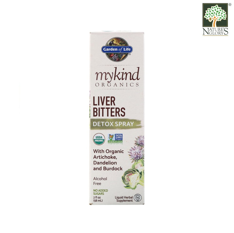 Garden of Life mykind Organics Herbal Liver Bitters Detox Spray 58ml Box Cover