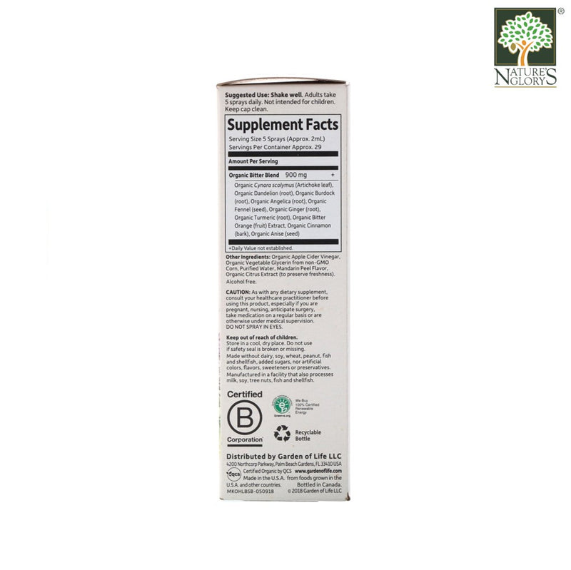 Garden of Life mykind Organics Herbal Liver Bitters Detox Spray 58ml Box Cover - Product Description