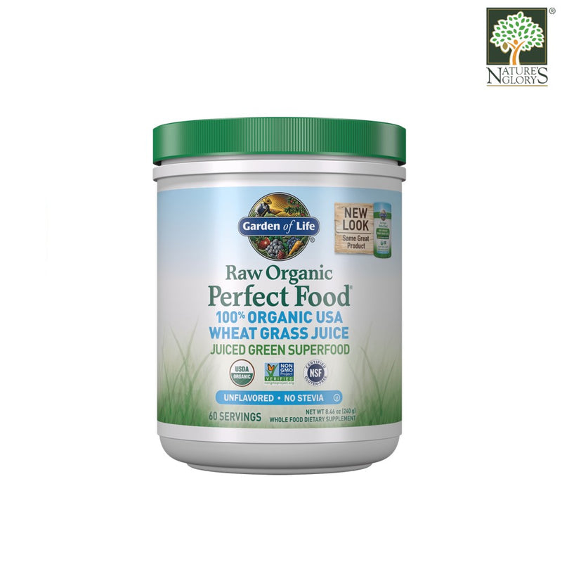 Garden of Life Raw Organic Perfect Food Wheat Grass Juice Unflavored Powder 240g
