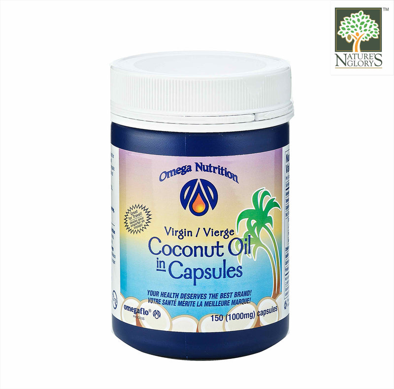 Extra Virgin Coconut Oil 150 (1000mg) Capsules Omega Nutrition Organic. (Best before: Jan 2022)