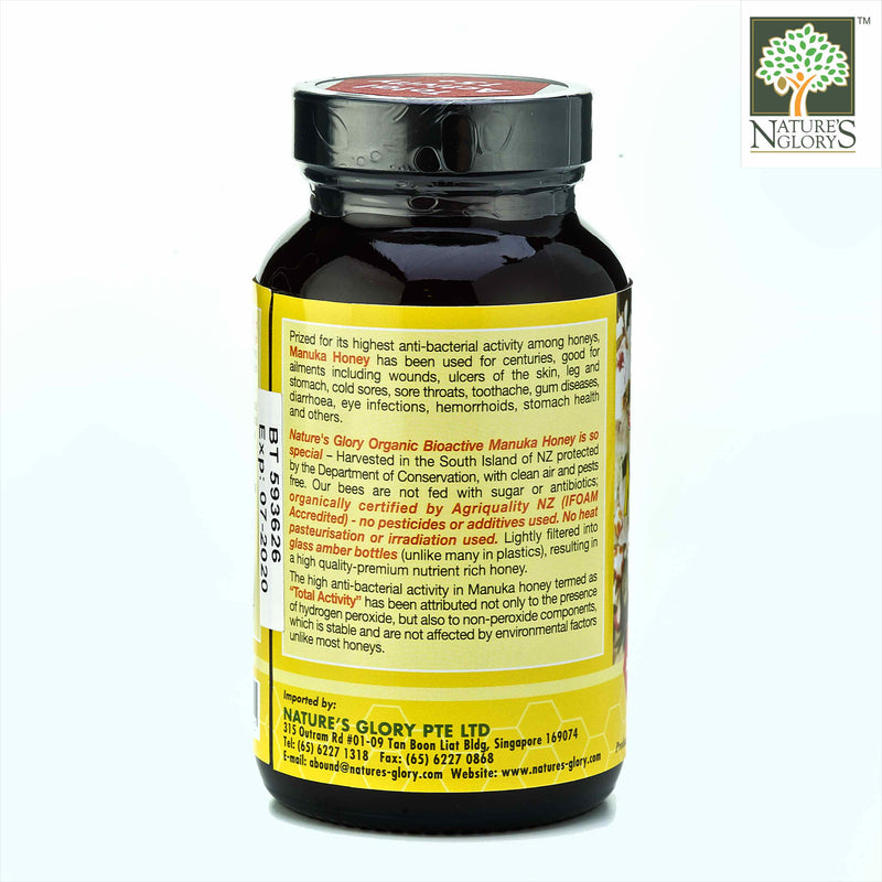 Manuka Honey (Bioactive) 15+ Nature's Glory 350g Organic (NA 8131P) Product Description View 2