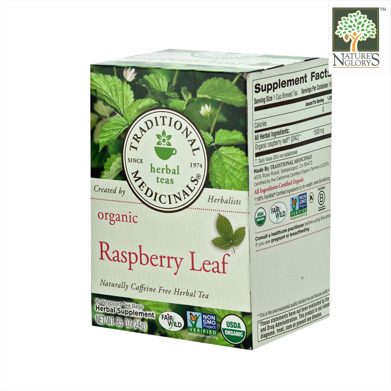 Organic Raspberry Leaf Tea, Traditional Medicinals 16 Wrapped tea bags