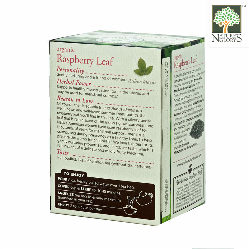 Organic Raspberry Leaf Tea, Traditional Medicinals 16 Wrapped tea bags - View 1