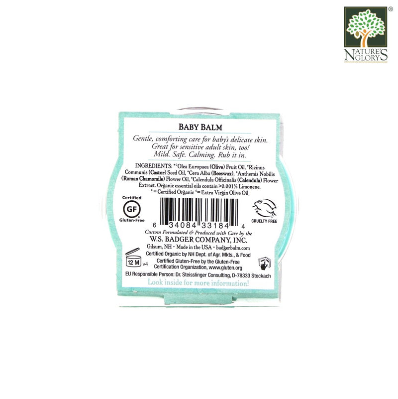 Baby Balm Badger Organic 21g - Back View