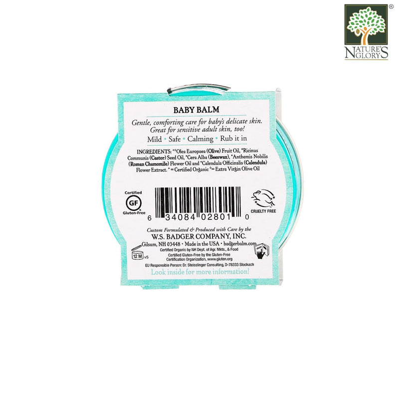 Baby Balm Badger Organic 56g - Back View