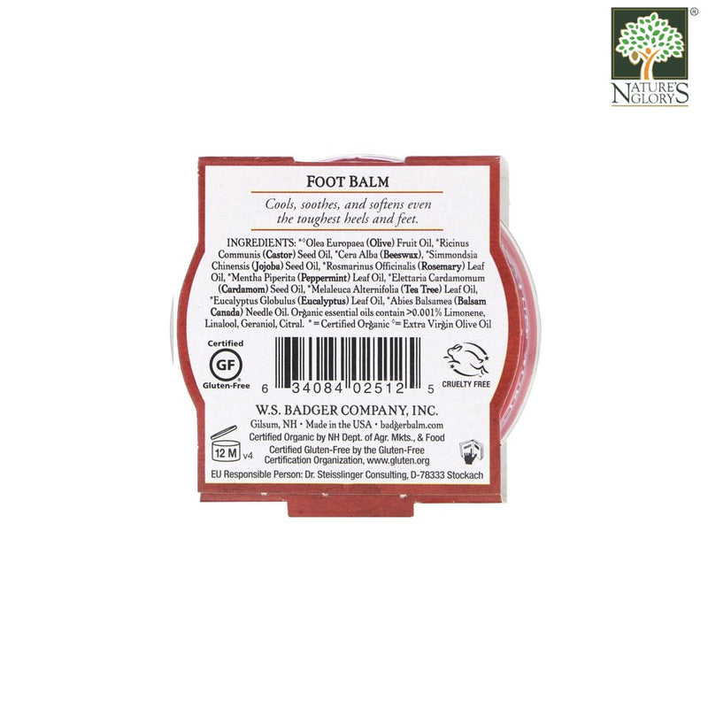 Foot Balm Badger Organic 21g - Back View