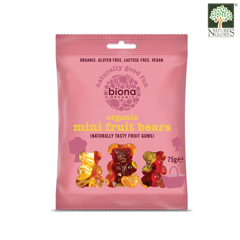 Organic Mini Fruit Bears Gums Biona 75g