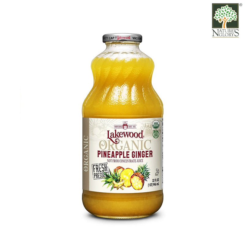 Organic Pineapple Ginger Juice Lakewood 946 mL