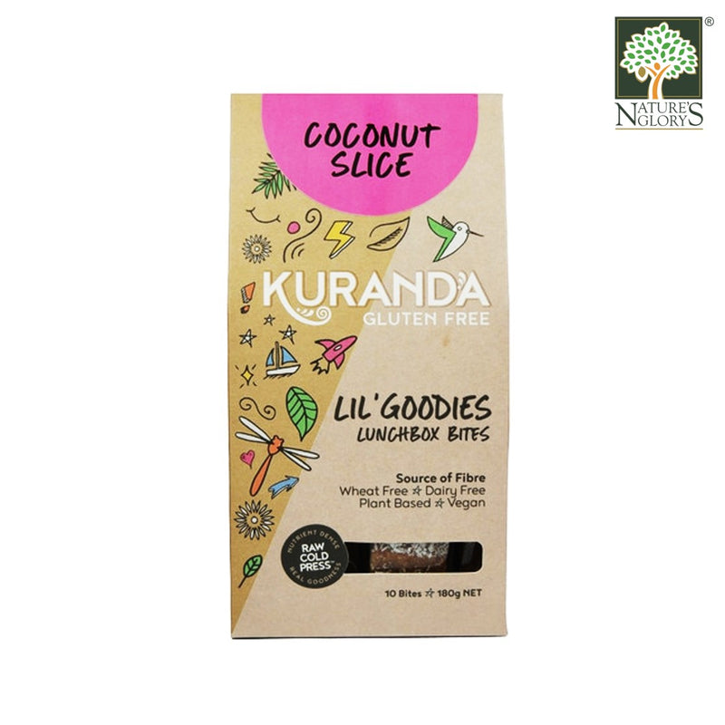 Coconut Slice Lunchbox Bite Bars Kuranda 180g Gluten Free, Vegan