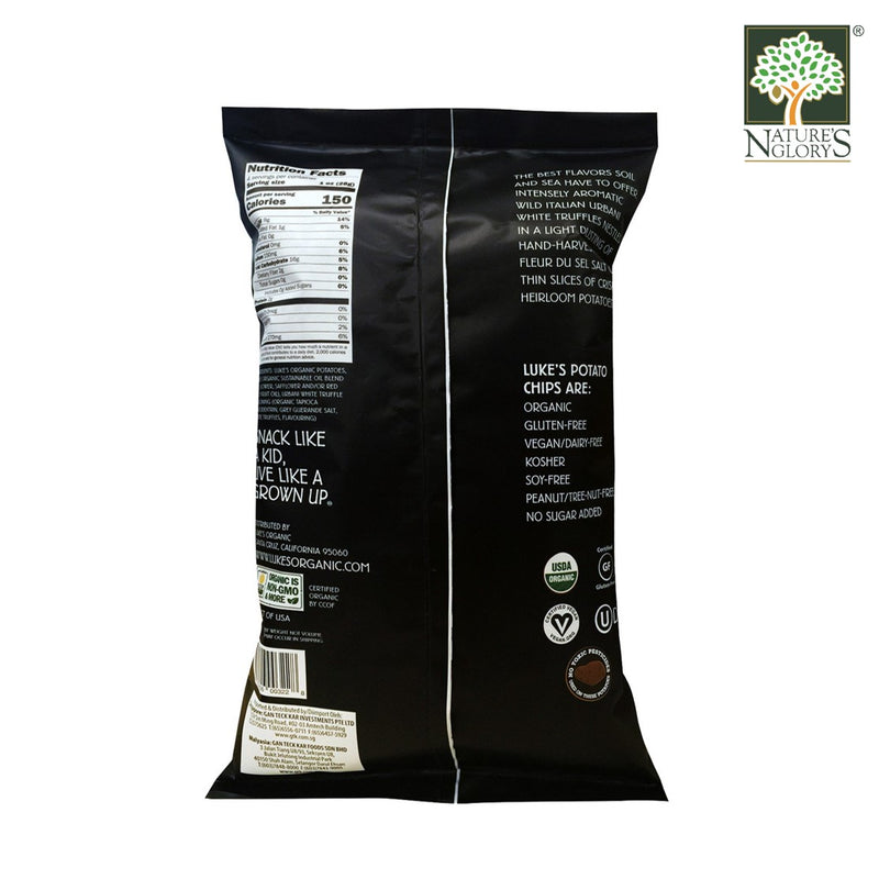 White Truffle & Sea Salt Potato Chips Luke's Organic Gluten Free 113g - Back View