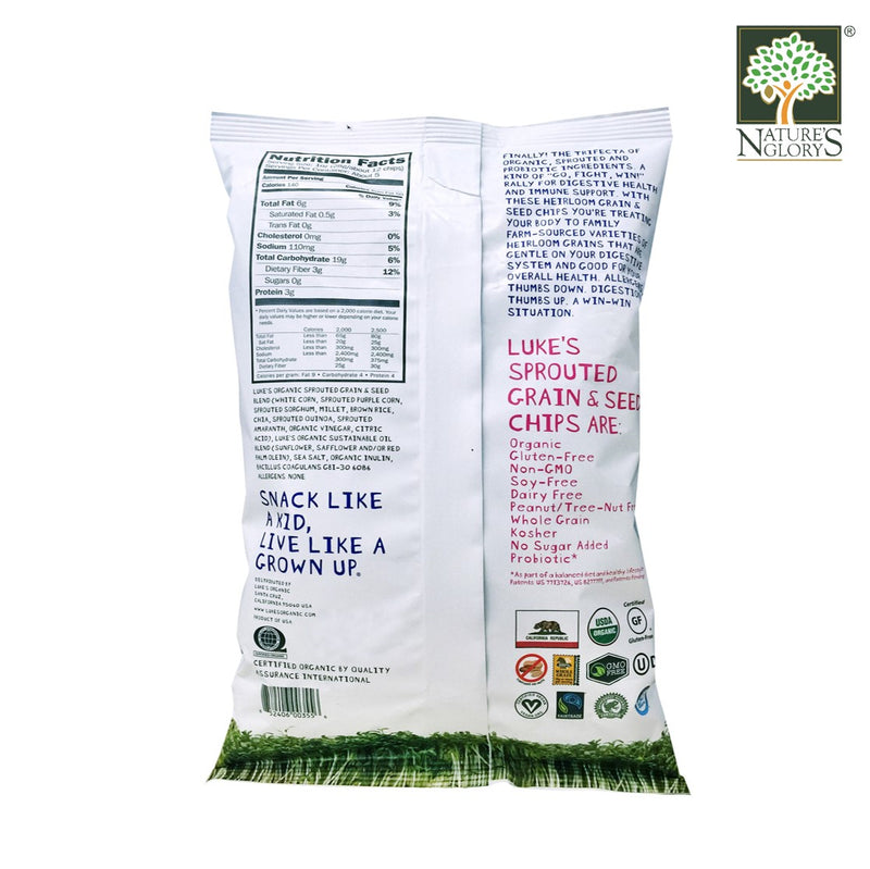 Luke's Organic Probiotic Sprouted Grain and Seed Tortilla Chips Gluten Free 142g - Back View
