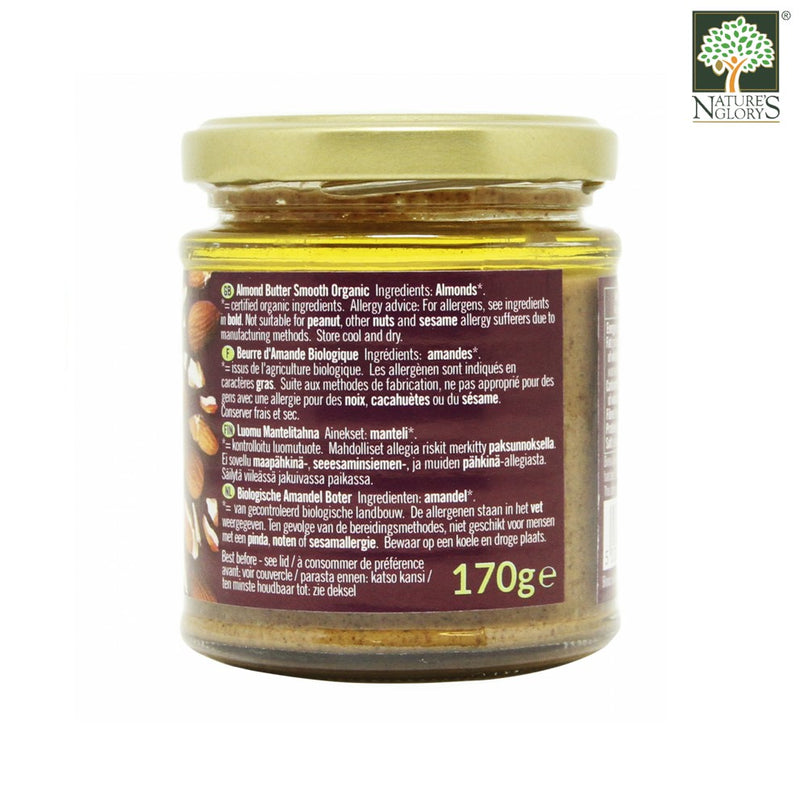 Almond Butter Smooth Biona Organic 170g - Back View