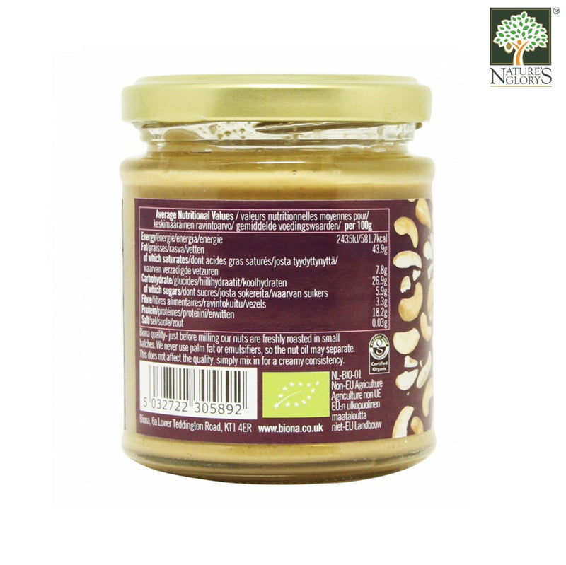 Cashew Nut Butter Smooth Biona Organic 170g - View 1