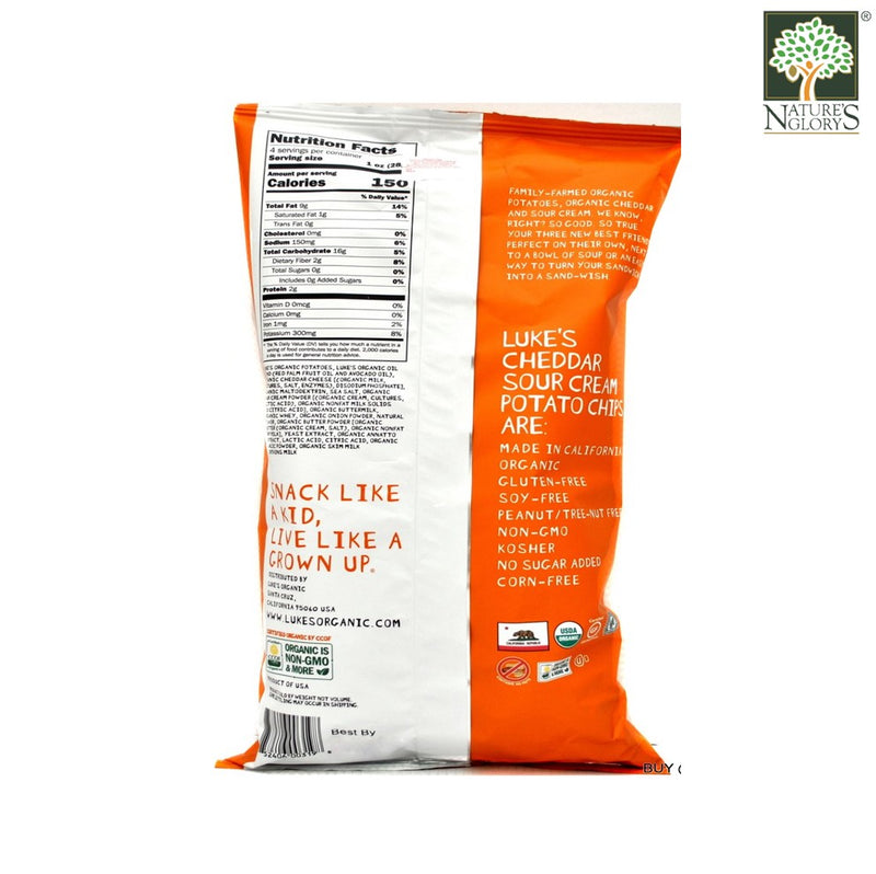 Cheddar & Sour Cream Potato Chips Luke's Organic 113g - Back View