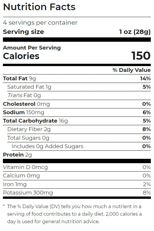 Cheddar & Sour Cream Potato Chips Luke's Organic113g - Nutritional Information