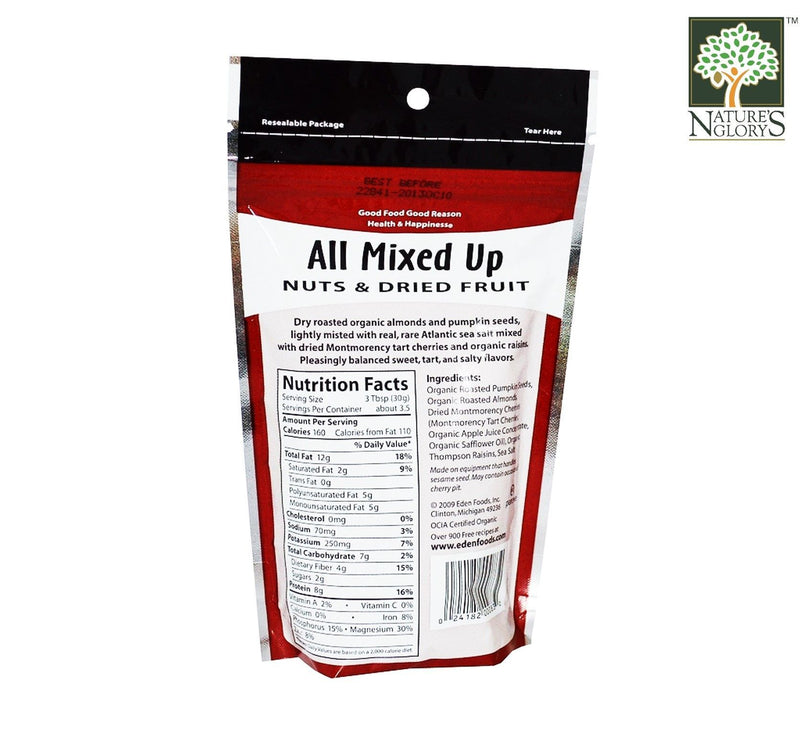 All Mixed Up Nut & Dried Fruit Eden 113g Organic - Backk View
