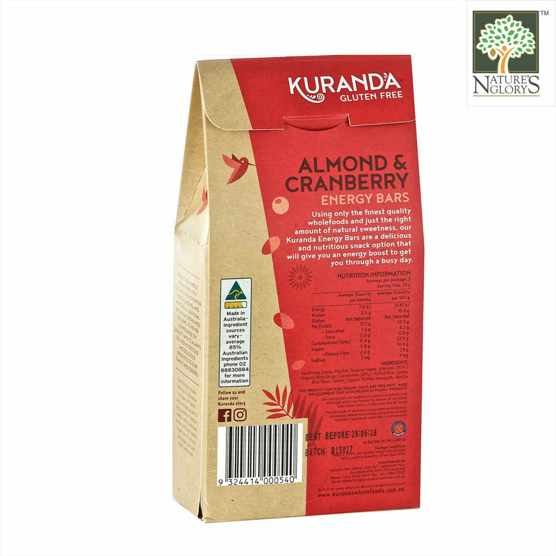 Almond & Cranberry Energy Bar, Kuranda Gluten Free 175g - Back View