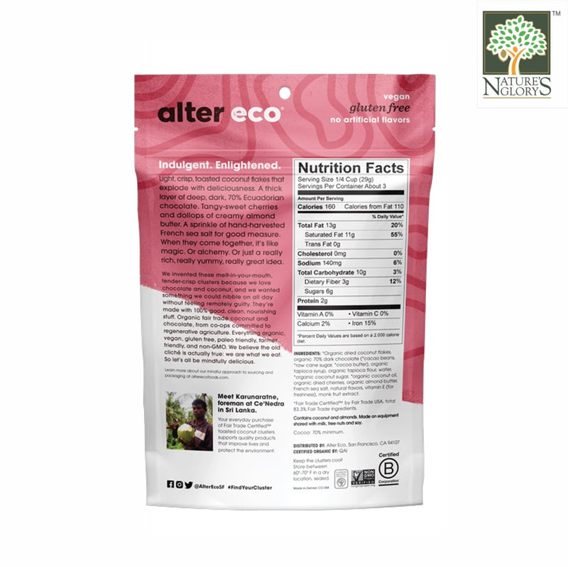 Alter Eco Dark Chocolate Cherry + Almond Butter Coconut Cluster 91g