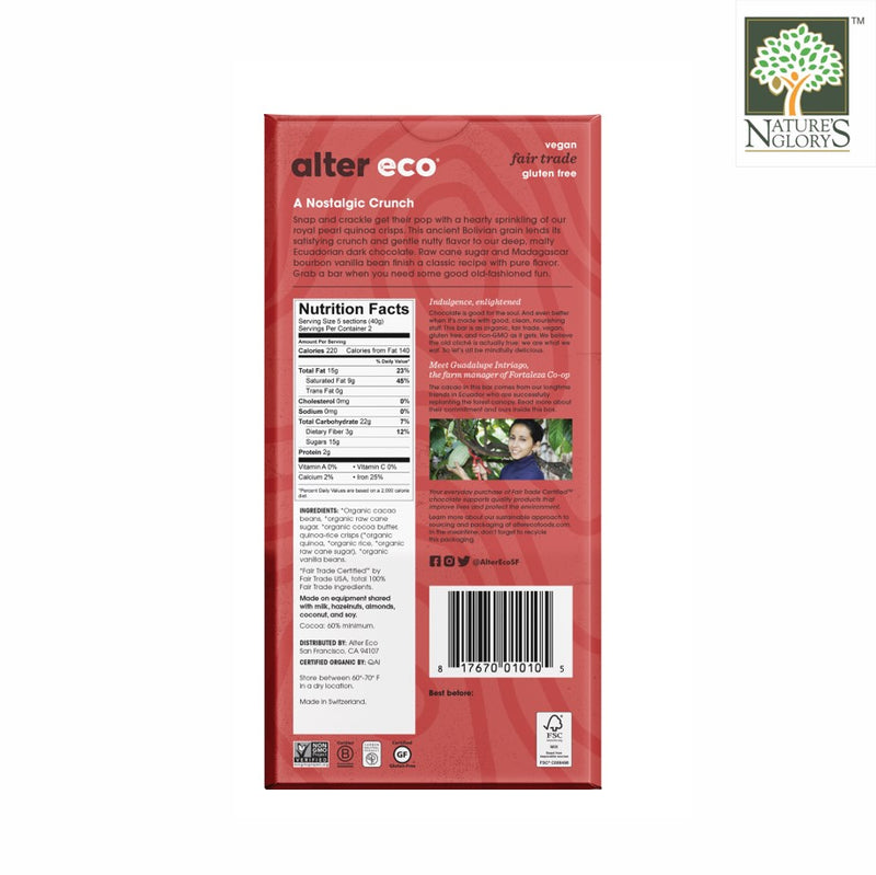 Alter Eco Dark Chocolate Quinoa Crunch Bar 80g